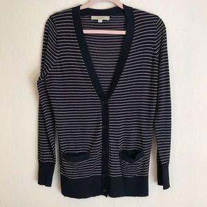 Loft Striped Navy & Tan Cardigan Sweater